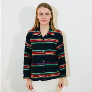 CHICOS THICK STRONG CANVAS WOVEN STRIPE JACKET#L56