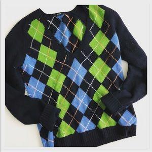 J. Crew Argyle Diamond wool blend v-neck sweater