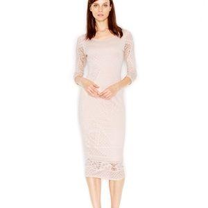 Bar III Laser-Cut Midi Dress Natural Tan Blush