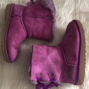 UGG Kids 3 purple bailey bow winter leather boots