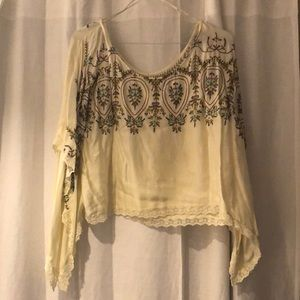 Cream Free People Blouse
