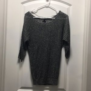 EXPRESS metallic open knit dolman sweater top, XS