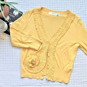Anthropologie sparrow yellow ruffled cardigan