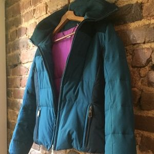 ELIE TAHARI retro Teal Blue Down Puffer Coat