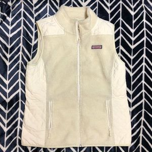 Cream colored vineyard vines vest
