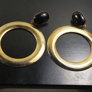 Jewelry - SUPER LARGE BRASS /BLACK  DANGLE HOOP EARRINGS