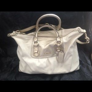 Coach satchel cream and gold