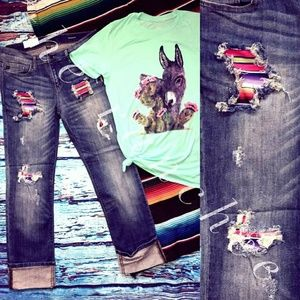 Denim - Distressed and patched Serape jeans