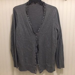 Cute ruffle trim v neck cardigan