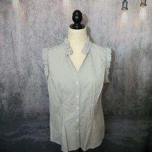 Worthington Gray & White Sleeveless Shirt Size L