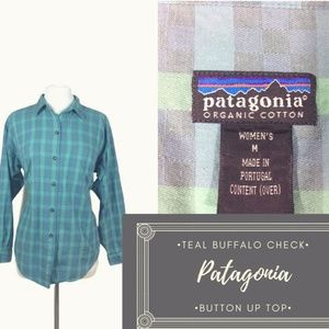 Teal & Green Buffalo Check Patagonia Organic Top M