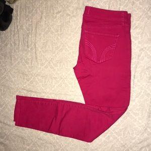 Hot pink hollister skinny jeans