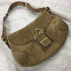 COACH- Tan suede hobo shoulder bag medium