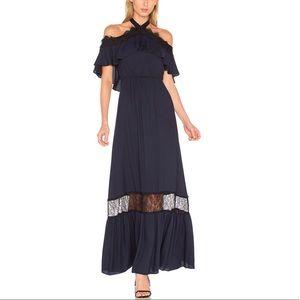 Alice + Olivia Misty Navy Black 2 Halter Dress