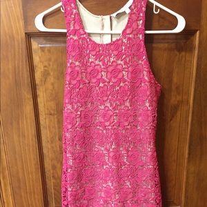 Lovers + Friends pink lace mini dress