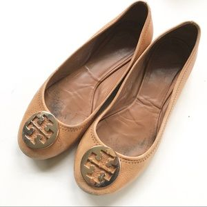 TORY Burch tan camel REVA flat 8 Brazil authentic