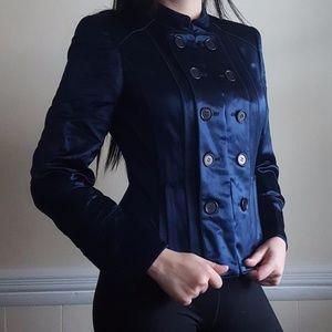 Calvin Klein Blue Linen/Silk Military Jacket 4