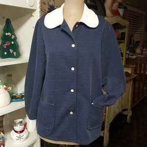 Vintage Long Sleeve Button Up Polka Dot Top