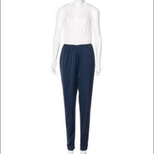 Alice & Olivia NWT silk jumpsuit. White and navy.