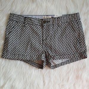 SO Shortie Shorts Black White Geo Chino Sz 9