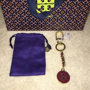 NWT Tory Burch Mercer Leather Inlay Key Fob