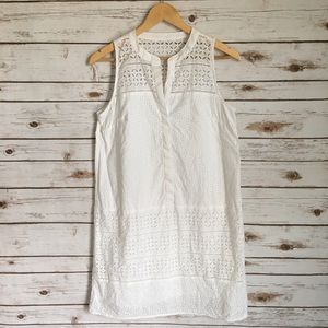 Loft Eyelet White Tank Dress