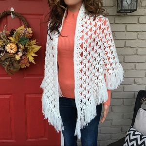White knit open crochet shawl