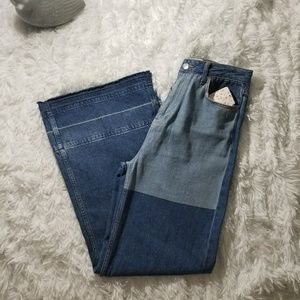 Free People Wide Leg Blue Patchwork Jeans