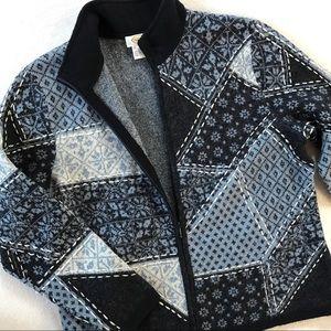 Talbots Wool Blue Patchwork Zip Cardi Sweater XL