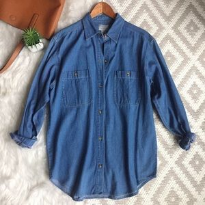 Tops - Oversized Denim Button Down Shirt