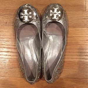 Tory Burch Silver Sequined Ballet Flats