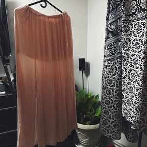 Pink front slits maxi skirt