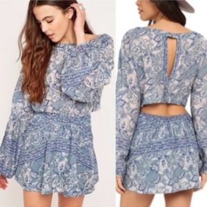 [Free People] Sun Print Dress in Washed Blue