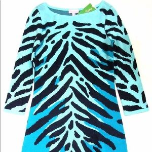Polly Sweater Shift Dress In Wild Animal Blue Sz S