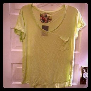 T. la Anthropologie rolled cuff v neck tee
