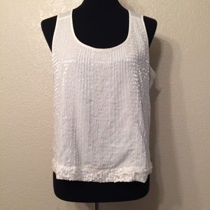 bebe Beaded Sleeveless White Blouse