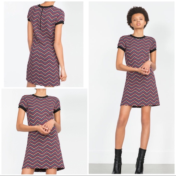 6dc10811566 NWT Zara Colors Dots Chevron 70 s Inspired Dress