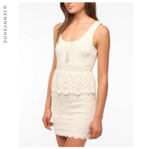 {urban outfitters} lace peplum dress