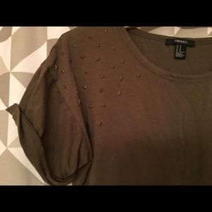 Army green, studded t shirt