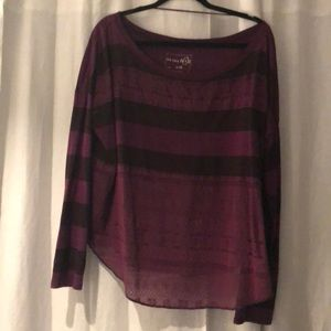 Free People Purple Striped long sleeve blouse