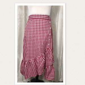 Red & White Gingham Ruffled Button Up Skirt