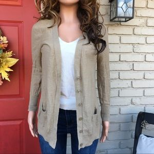 Tan semi sheer lightweight button cardigan