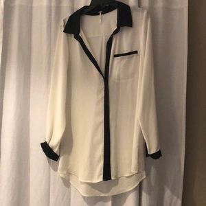White & Black Free People Tunic