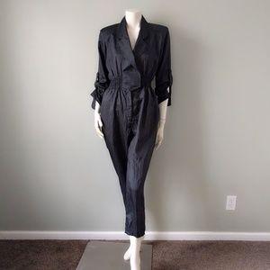 VTG 80s Black Silky Nylon Jumpsuit Flightsuit S