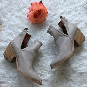 Jeffrey Campbell Cromwell Gray side cutout booties