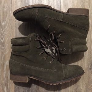 Green Suede Ankle Combat Boots Sz 8