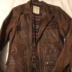 Cowboy leather coat.  Heavy! Fossil - Small