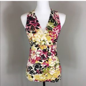 CAbi sleeveless, rouched top. Style 404