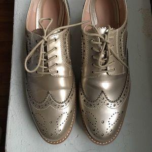 ZARA Gold Oxford Platform Shoes Size 9
