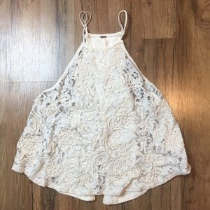 FREE PEOPLE lace high neck spaghetti strap tank